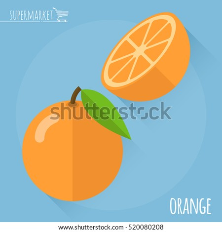 Orange.  Long shadow flat design vector icon.