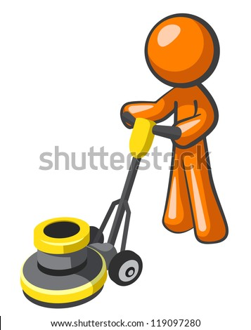 Orange man buffing tile or carpet with a floor buffer. - stock vector