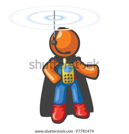 Orange Man communications hero, with phone on his chest and antennae on his head. He's in touch and ready to save the day from a safe distance. - stock vector
