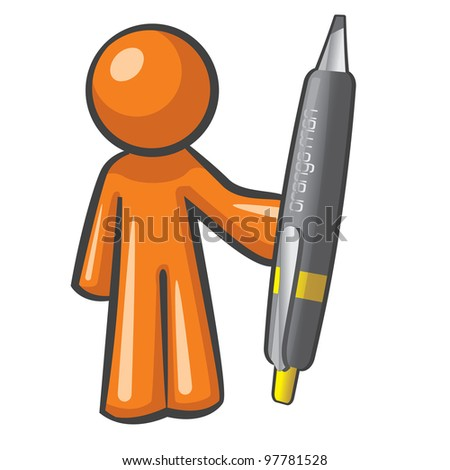 Orange Man holding a giant, over-sized pen. The pen is mightier, as can be plainly seen here. - stock vector