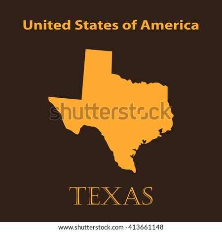 Orange map of the State of Texas - vector illustration. - stock vector