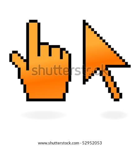 Orange matted cursor and hand with shadow on white - stock vector