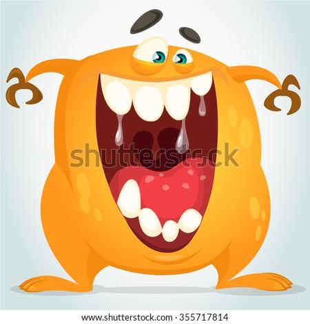 Orange monster - stock vector