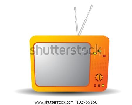 orange old tv. vector illustration - stock vector