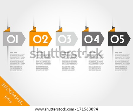 orange origami arrows. infographic concept. - stock vector