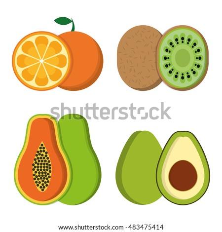 Orange papaya kiwi and avocado icon. Fruits summer healthy and organic food theme. Colorful design. Vector illustration