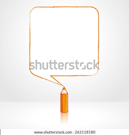 Orange Pencil with Reflection Drawing Smooth Square Shaped Speech Bubble on Pale Background - stock vector