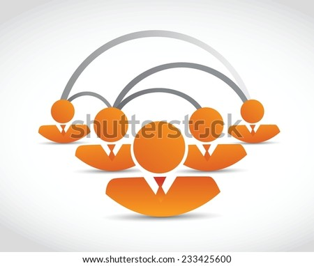 orange people network connection illustration design over a white background - stock vector