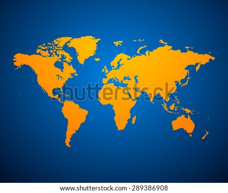 Orange Political World Map on blue background. Vector illustration EPS-10 - stock vector