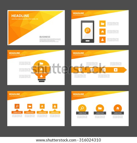 Orange polygon Infographic elements presentation template flat design set for brochure flyer leaflet - stock vector