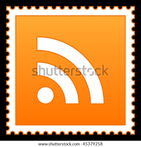 Orange postage stamps with rss symbol on black background - stock vector