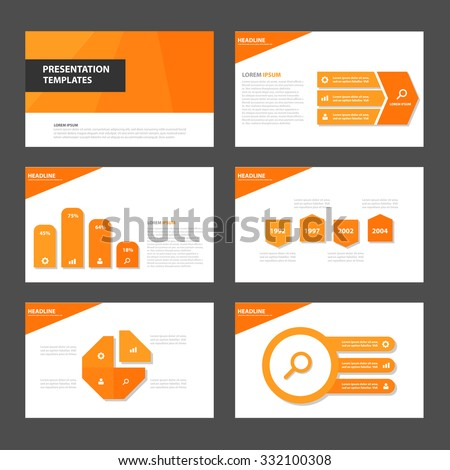 Orange presentation template Multipurpose Infographic elements and icon flat design set for advertising marketing brochure flyer leaflet - stock vector