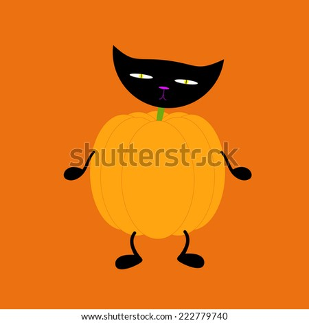 Orange pumpkin on two black legs and two black hands with black cat head on green neck isolated on bright orange background. Halloween decoration vector element - stock vector
