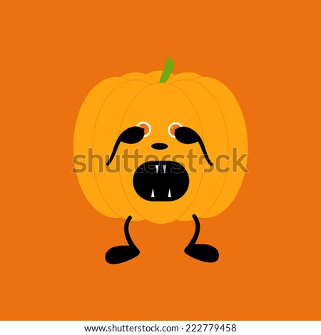 Orange pumpkin on two black legs with eyes full of fear partly closed by its hands, black nose crying with its mouth full of sharp teeth isolated on bright orange background. Decoration vector element - stock vector