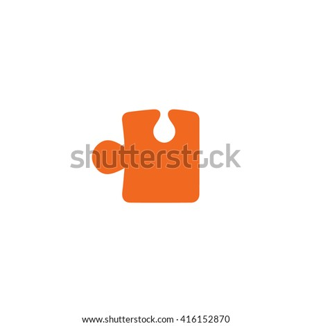 Orange puzzle icon vector illustration. - stock vector