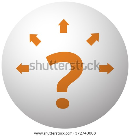 Orange Question Mark Arrows icon on sphere isolated on white background