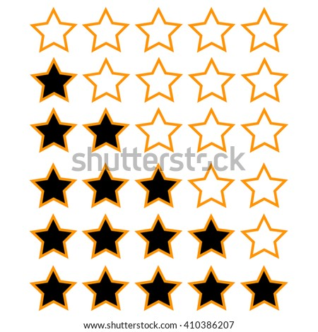 orange rating stars with black and white