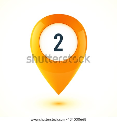 Orange realistic 3D glossy map point symbol. Part of colorful vector set. - stock vector