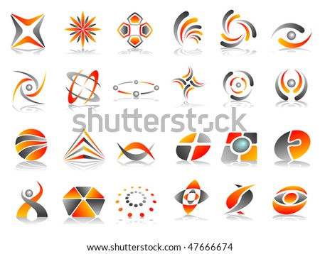 Orange Red and Grey Abstract Vector Icon Design Element Set - stock vector