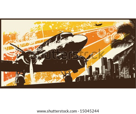 Orange Retro Propeller Bomber Vector Illustration - stock vector