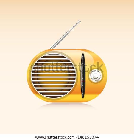 Orange Retro Radio - stock vector