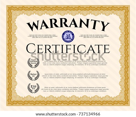 Orange retro warranty certificate template good stock vector orange retro warranty certificate template good design customizable easy to edit and change yelopaper Images