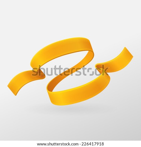 Orange ribbon retro style. Vector design element. Isolated on a gray background. - stock vector