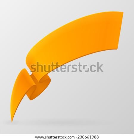 Orange ribbon. Vector design element. - stock vector