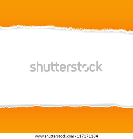 Orange Rip Paper With Gradient Mesh, Vector Illustration - stock vector