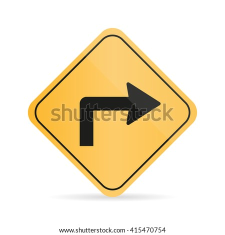Orange  road turn sign on a white background with shadow - stock vector