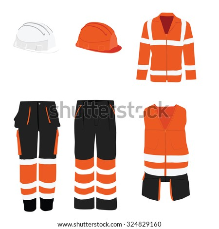 Orange safety clothing vector icon set with safety vest, pants and hardhat helmet. Safety equipment. Protective workwear