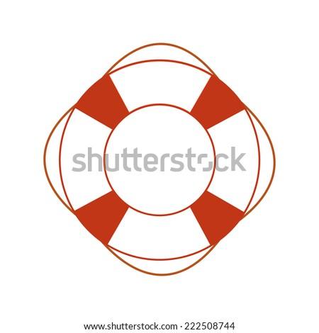 Orange safety ring on white background. Sea theme, help, rescue - stock vector