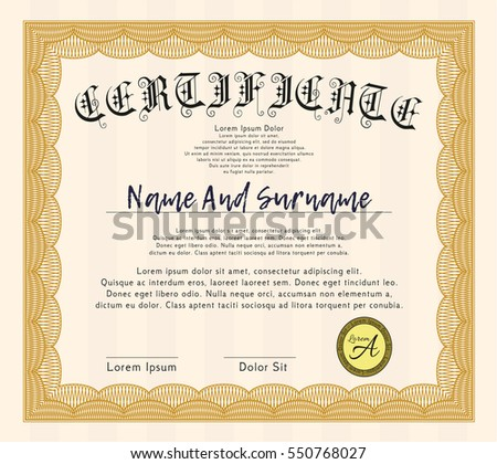 Orange Sample certificate or diploma. Cordial design. Detailed. With background.