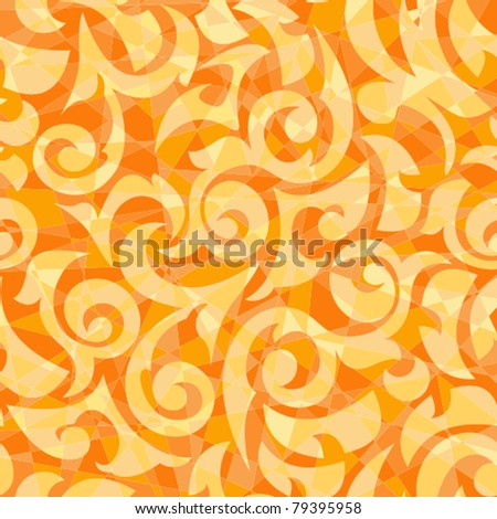 Orange seamless background in the form of a mosaic with monograms - stock vector