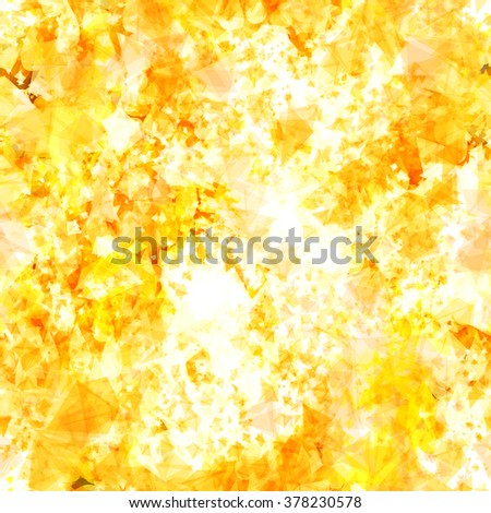 Orange seamless pattern of triangular elements. The effect of lava, fire, sparks, explosion, volcanic eruption. Watercolor effect. Easy editable vector - stock vector