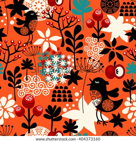 Orange seamless pattern with cute singing birds and summer plants. Vector repeated background. - stock vector