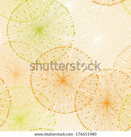 Orange Seamless Pattern with Dandelions - stock vector