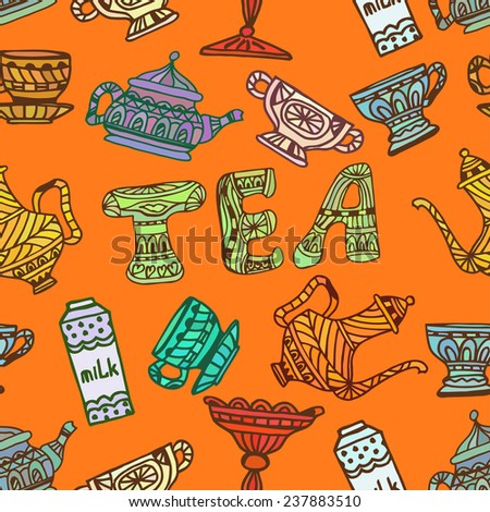 Orange seamless texture tea party,  cup, candy, sugar. Tribal style. Vector illustration. - stock vector