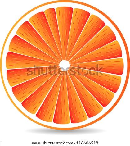 Orange segment isolated on a white background. Vector illustration. - stock vector