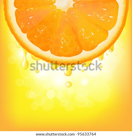 Orange Segment With Juice And Bokeh, Vector Background - stock vector