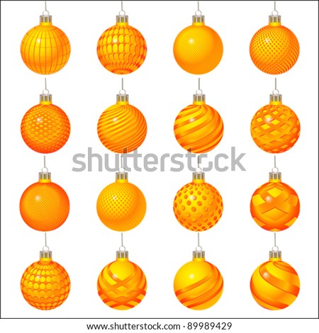 orange set of Christmas ornament, vector - stock vector
