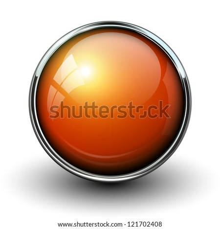 Orange shiny button with metallic elements, vector design for website. - stock vector