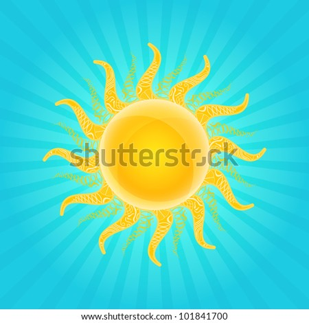 Orange Shiny Sun Icon with Beams in Cyan Sky. Vector - stock vector