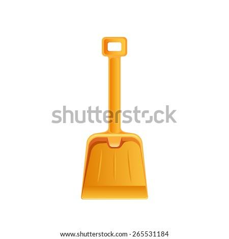 Orange shovel isolated on white background, illustration. - stock vector