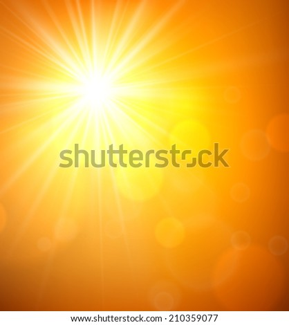 Orange sky blurry background with sun. Vector illustration.
