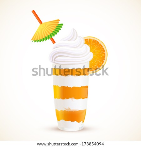 Orange sliced dessert cocktail, vector illustration - stock vector