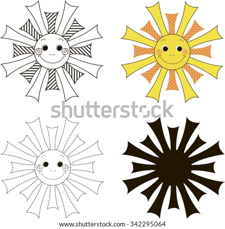 Orange smiling cartoon sun - Baby card with the job. Early child development. The study of logic, foreign language and learning to write - stock vector