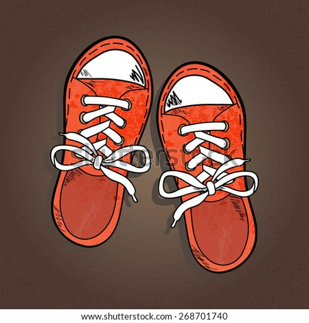 orange sneakers with white lake isolated on brown textured background, sketch, vector illustration - stock vector