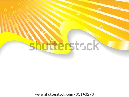 Orange solar sunny card; clip-art
