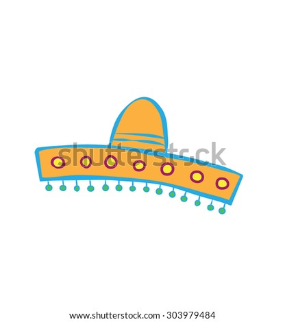 Orange Sombrero Cartoon Vector Icon
